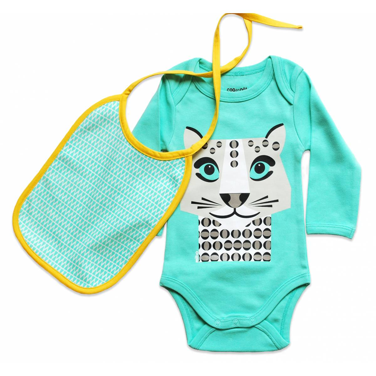 Snow leopard long sleeves body and bib set