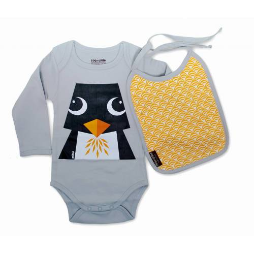 Penguin long sleeves body and bib set