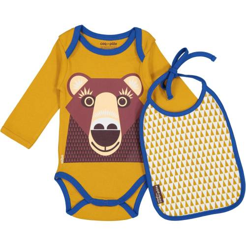 Brown bear long sleeves body and bib set