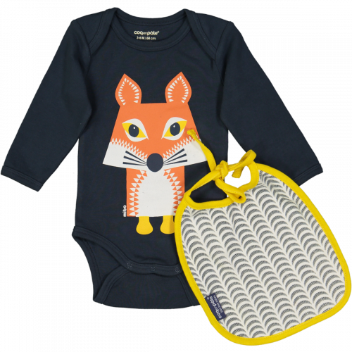 Fox bodysuit and bib set