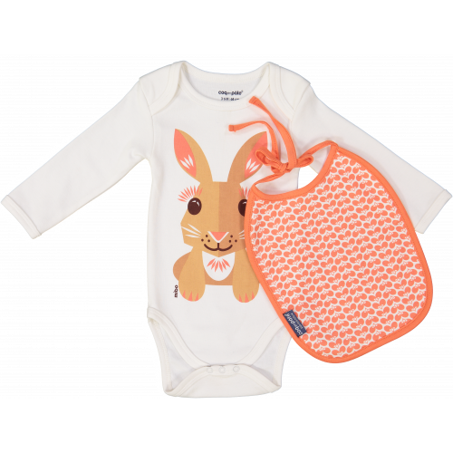 Rabbit bodysuit and bib set