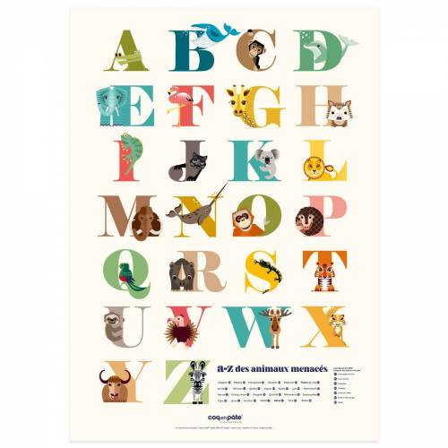 A to Z of endangered animals poster
