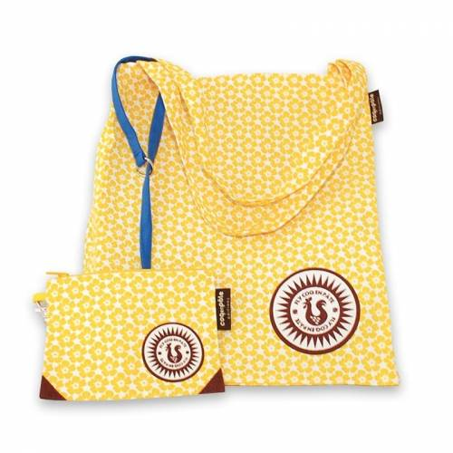 Yellow shoulder bag with purse