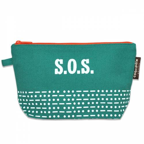 SOS green pencil case