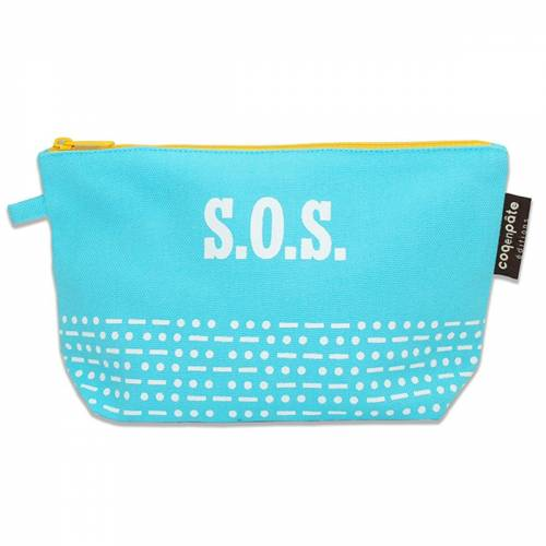 SOS blue pencil case