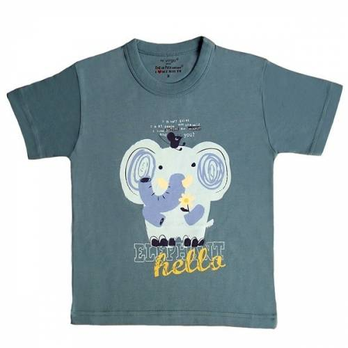 T-shirt éléphant bleu-gris