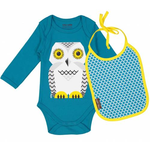 Snowy owl long sleeves body and bib set