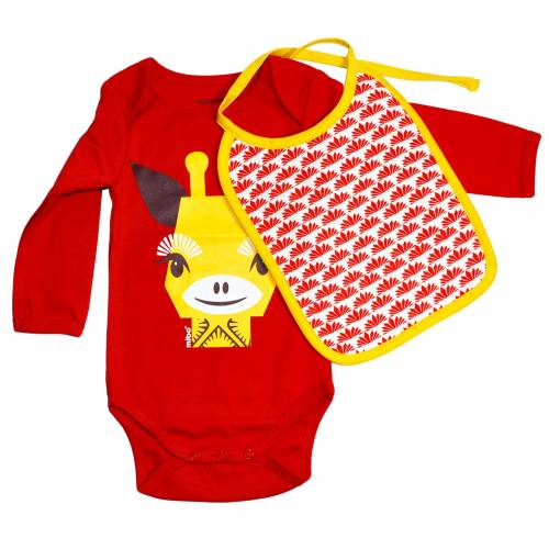 Giraffe long sleeves body and bib set