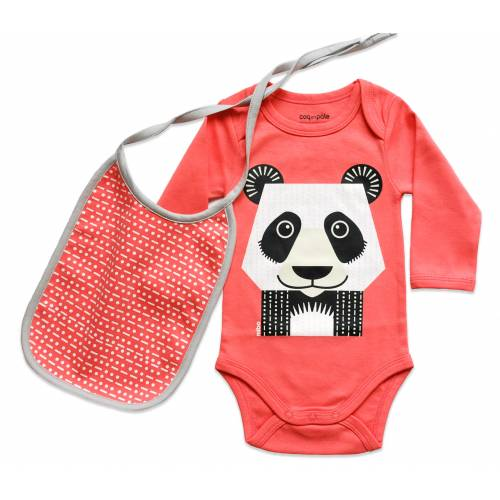 Panda long sleeves body and bib set