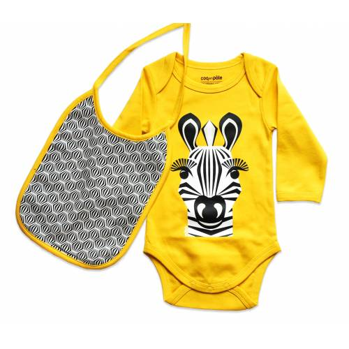 Zebra long sleeves body and bib set