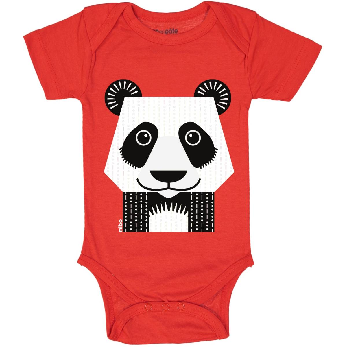 Body manches courtes Panda rouge