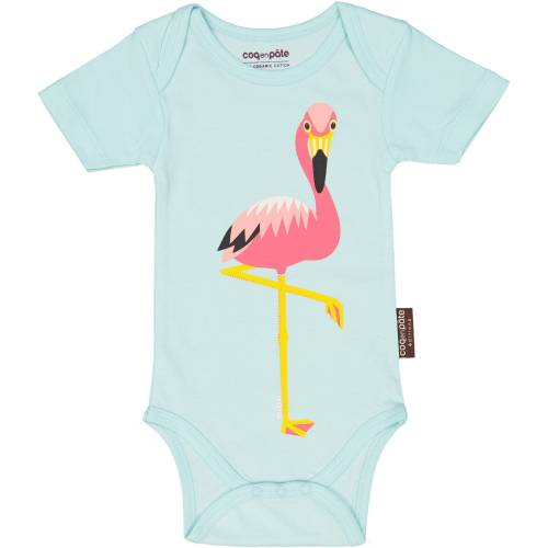 Body MC/Bodysuit SS-FLAMANT ROSE/Flamingo-Bleu-Disch-Jersey 100pourcent cot bio-12m